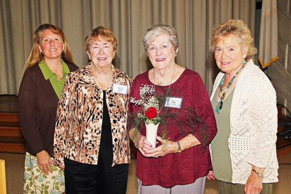 Carol McGarvey, Marietta Lynch, Betty King, Mary Bugeia. Honoring Betty King as she celebrates 25 years with the Garden Club of Dearborn.