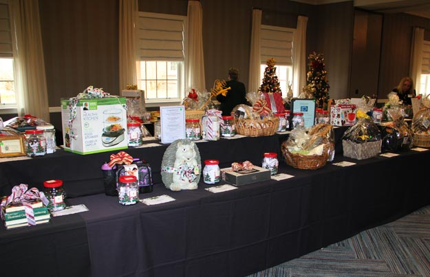 Tables filled with raffle prizes.